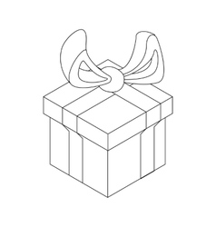 Gift box with ribbon bow icon outline style vector image