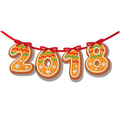 Gingerbread 2018 numbers on garland cookie vector