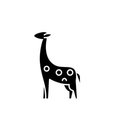 giraffe black icon sign on isolated vector image