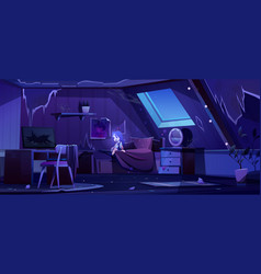 Girl ghost in old bedroom on attic at night vector