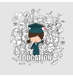 Girl graduated pupils back of school background vector image