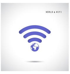 Globe shape and wifi sign vector