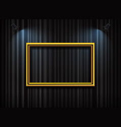 Gold frame with spotlight on curtain background vector