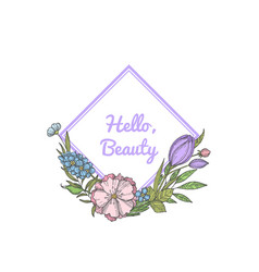 hand drawn flowers wreath with place vector image