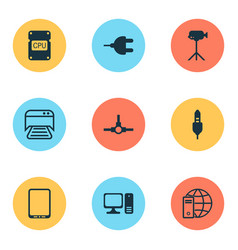 hardware icons set collection of camcorder vector image