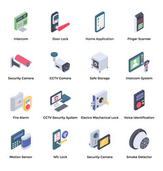 home security isometric icons vector image