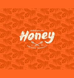 Honey bee seamless pattern and label vector