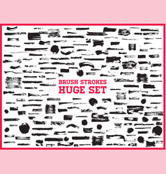 huge set black brush strokes paint ink brushes vector image