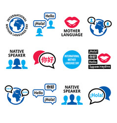 international mother language day icon set vector image