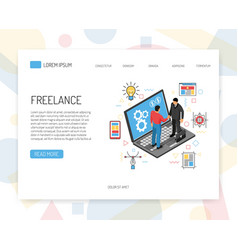 isometric freelance landing page vector image