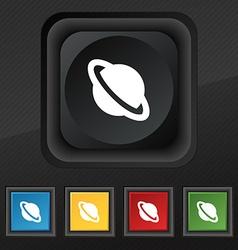 Jupiter planet icon symbol Set of five colorful vector image