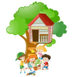 kids doing things in the garden vector image
