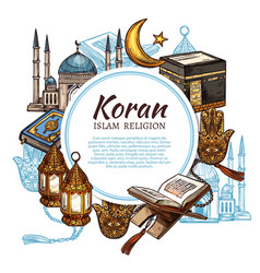 Koran holy book islam religion symbols vector