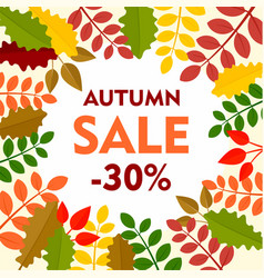 leaves final autumn sale background flat style vector image