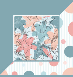 lilies in sketch style on pastel colored banner vector image