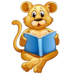 Lion cub reading blue book vector