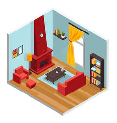 Living room inerior concept vector