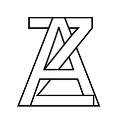 Logo sign az za icon sign interlaced letters a z vector