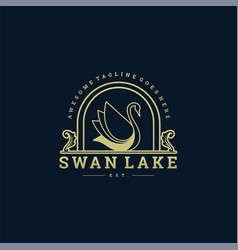logo swan vintage badge style vector image
