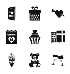 lovers day icons set simple style vector image
