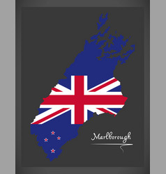 Marlborough new zealand map with national flag vector