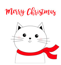Merry christmas cat kitten kitty face head black vector