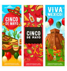 mexican fiesta symbols cinco de mayo holiday vector image