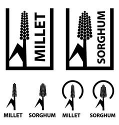 millet sorghum cereal black symbol vector image