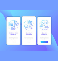 mortgage refinance types onboarding mobile app vector image