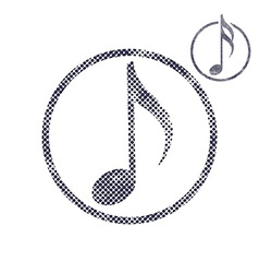 Music note icon with halftone dots print texture vector