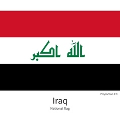 National flag of Iraq with correct proportions vector image