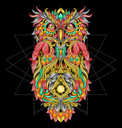 owl ornament tribal tattoo artwork with editable l vector image