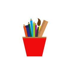 pencils and ruler in glass colorful icon vector image