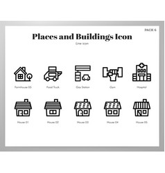places and buildings icons line pack vector image
