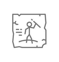 Prehistoric drawings cave painting rock art line vector