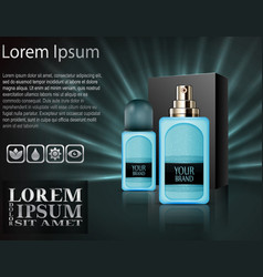 realistic plastic perfume bottles with package box vector image