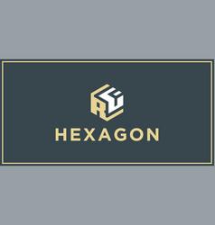 Rf hexagon logo design inspiration vector