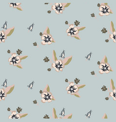 Seamless pale blue flower pattern vector