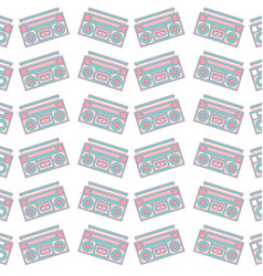 seamless pattern stereo recorder player audio vector image