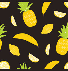 seamless pattern with lemons pineapples and vector image