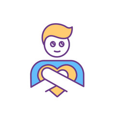Self-compassion and self-love rgb color icon vector