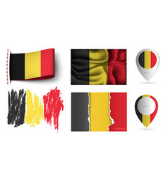 set belgium flags collection isolated vector image