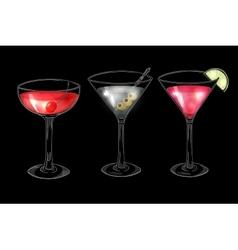set hand drawn alcoholic cocktails on dark vector image
