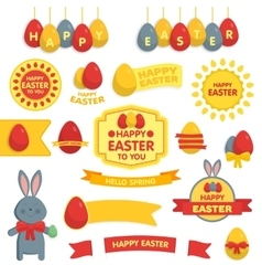 set happy easter ornaments and decorative vector image