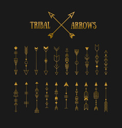 Set of gold hipster tribal arrows on chalkboard vector