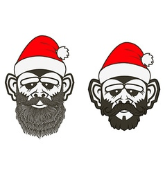 set santa monkey vector image