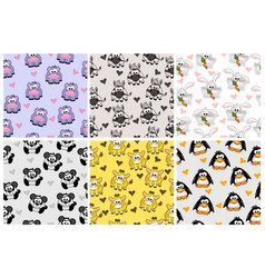 Set seamless pattern from animals cartoon vector