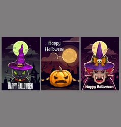 set three scary halloween posters helloween vector image
