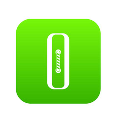 sewn rectangular button icon digital green vector image