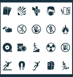 Sign icons set with downfall welder keep door vector